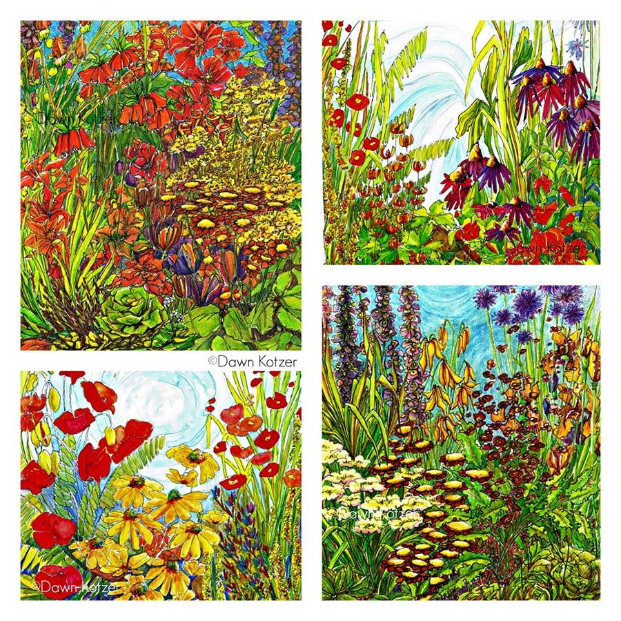 Vivid Summer Garden art vignette- original watercolours by Dawn Kotzer