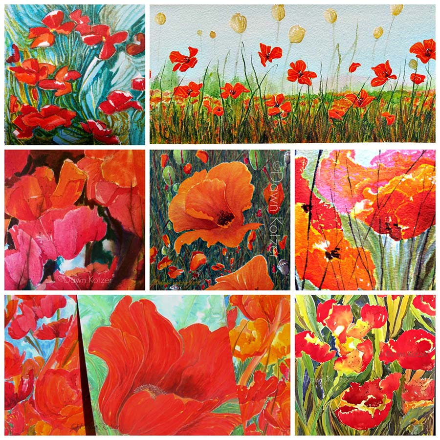 Dawn-Kotzer-Poppy-Art. A sampler of vivid watercolour poppies – garden, wild and abstract blooms painted by Dawn Kotzer