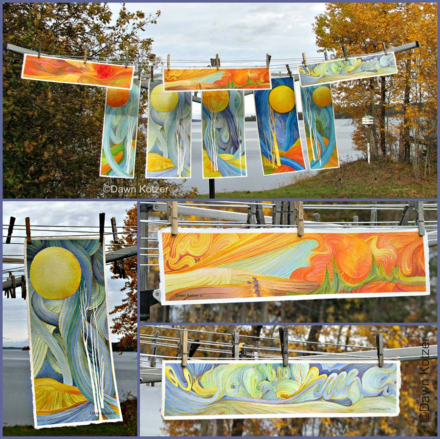 Dawn Kotzer© WC Grooves - Unusual linear groove paintings hanging on clothesline on a fall day- original watercolours by Dawn Kotzer.