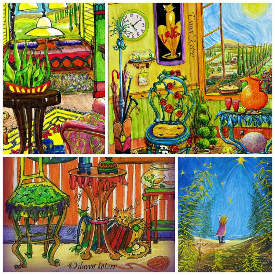 Dawn-Kotzer--Whimsy-Art — Collection of bright whimsical art an inner child appeal. Watercolours by Dawn Kotzer