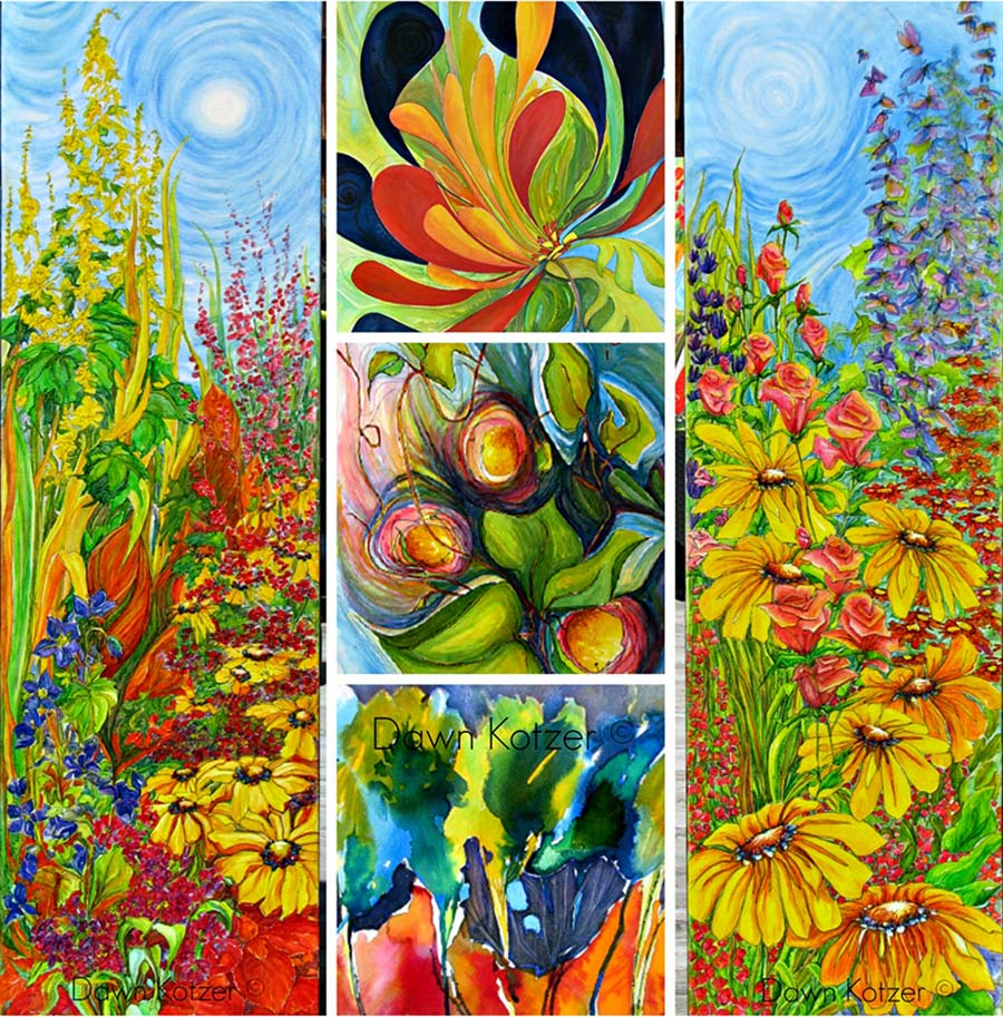 Dawn-Kotzer-Wild-WC-Blooms - Collage of original watercolour art- bold yellow daisies and wild surreal floral themes by Dawn Kotzer