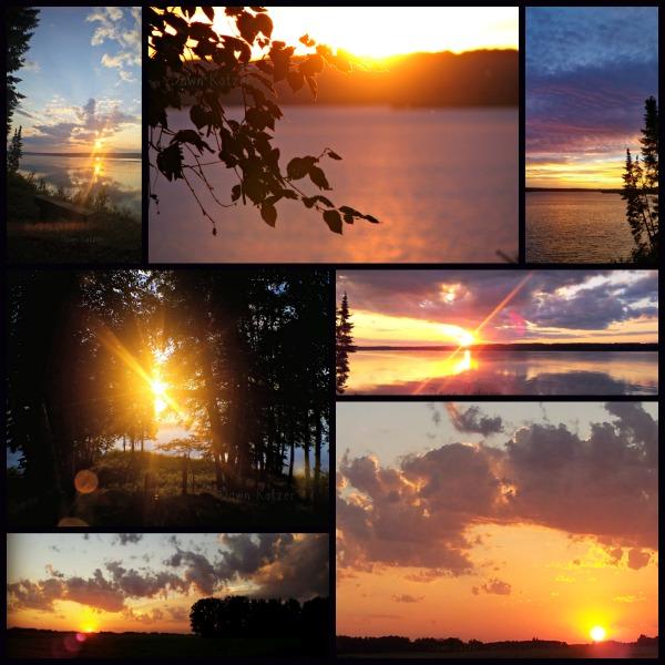 Saskatchewan sunsets- purple light - sunbeams - lakeland and prairie by Dawn Kotzer