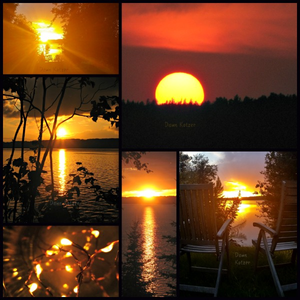 Saskatchewan sunsets in a collage of lakefrontphotos