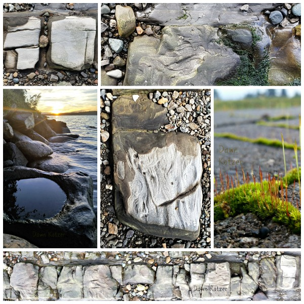 Grooved and time worn rocks along lake and ocean shorelines