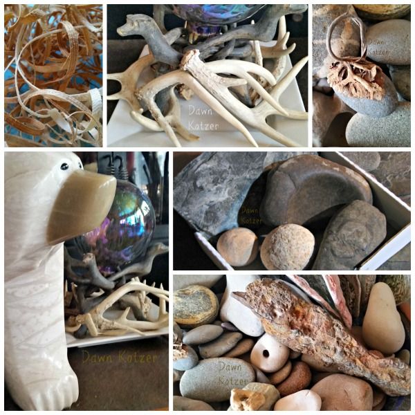 Photo Collage- Rocks- antlers- Beach finds- Bear Sculptures