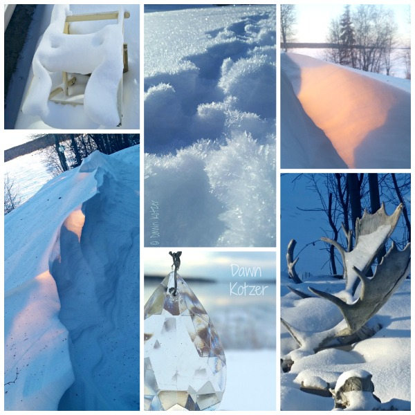 Snow drifts and shadows-Moose antlers and prism in winter wilderness- photos by Dawn Kotzer