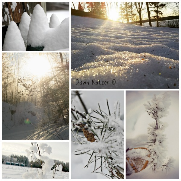 Snow mounds-snow shoes and ice crystals