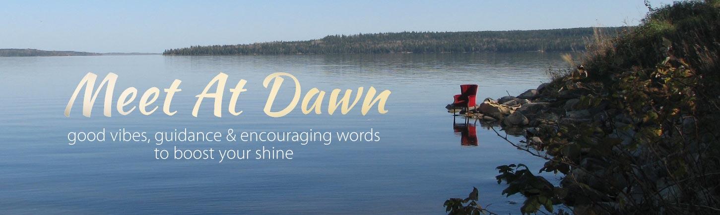 Meet At Dawn - Dawn Kotzer - red chair at the lakeshore at dawn