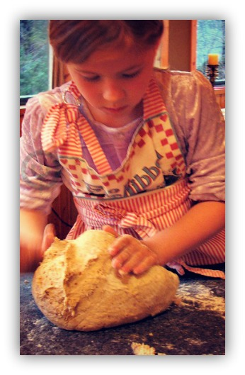 kneading bread photo